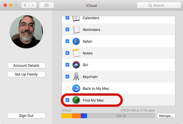 Be sure to uncheck the Find My Mac check box