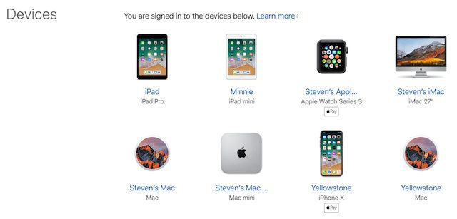 The list of devices currently signed into with an Apple ID