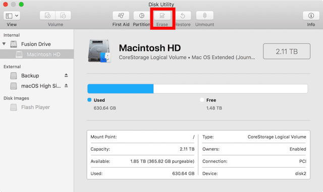 Disk Utility, showing the Erase button highlighted in red