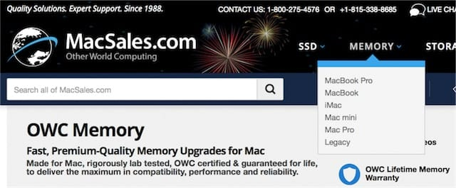 "Click on the ""Memory"" link and select the type of Mac"