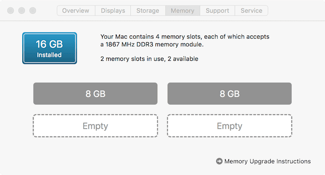 Macs with RAM that can be user upgraded will show this Memory tab in About This Mac