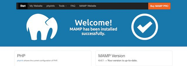 The MAMP welcome page, indicating that all services are running