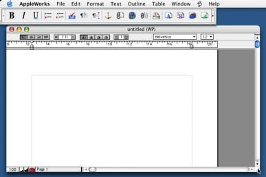 The Word Processing module of AppleWorks 6