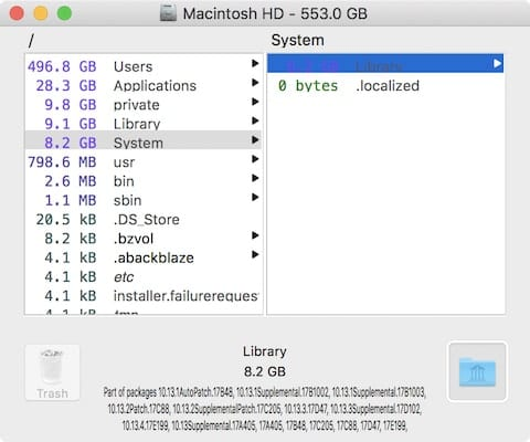 This 8.2 GB system folder is typical for a Mac running macOS 10.13 High Sierra