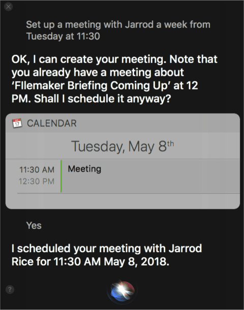 Adding an appointment to Calendar with Siri, which recognizes a schedule conflict