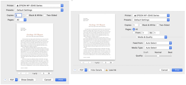 The default (left) and expanded Print dialogs