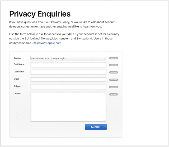The Privacy Enquiries form for requesting data or obtaining answers about your data