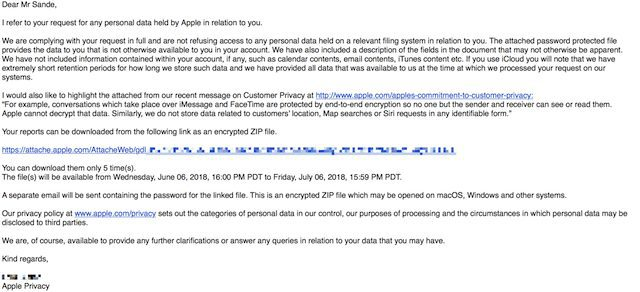 Response from Apple's Privacy Response Team