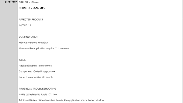 The CRM AppleCare Case Header file shows all AppleCare calls made and their resolution