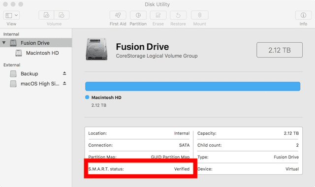 """SMART status of a drive will show """"Verified"""", """"Failing"""" or drive error messages"""