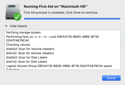 """Click """"Show Details"""" to see what is going on while running First Aid"""