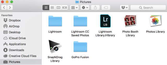 The contents of a typical Mac Pictures folder