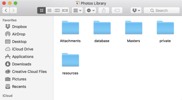 The folders located in the Photos Library