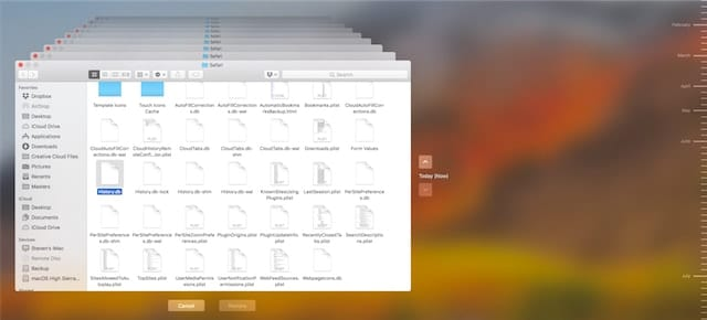 Time Machine displays a history of the files in the Safari folder.