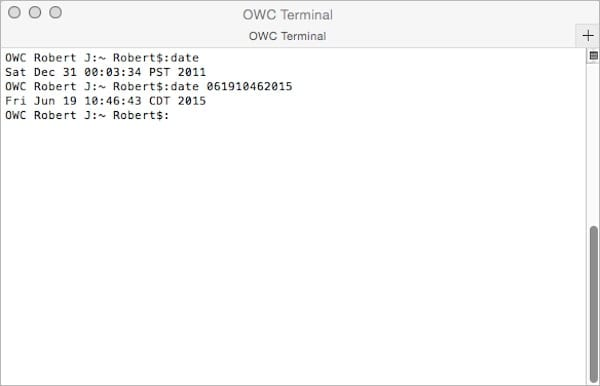 Screenshot showing the terminal command to change the date on a mac