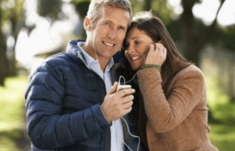 Sharing a pair of earbuds