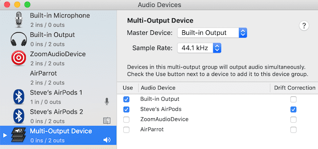 Select the two audio output devices you wish to share sound to
