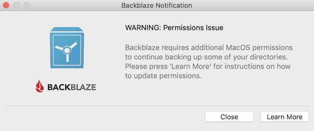 (A warning dialog from Backblaze stating that permissions are required)