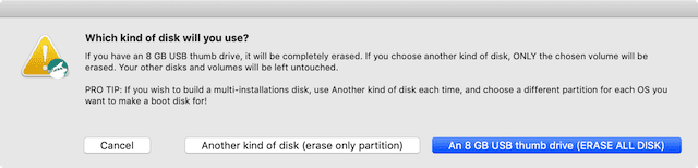 "(If you have a thumb drive, click the appropriate button; hard disk, use ""another kind of disk"")"
