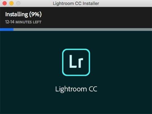 Screenshot of Lightroom CC installing