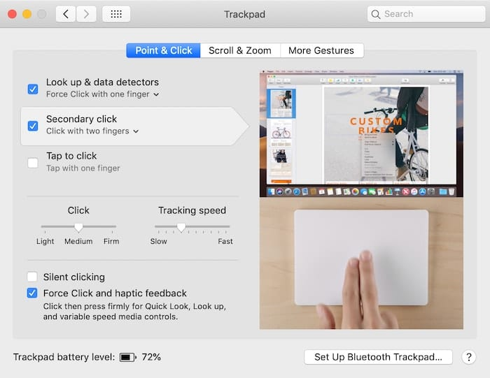 Trackpad Point & Click Preferences