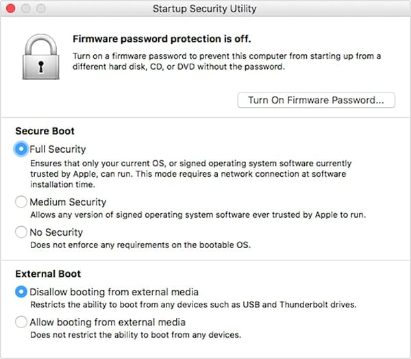 Startup Security Utility, available on new Macs with the T2 chip.
