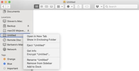 (Renaming the 'Untitled' drive in Finder)