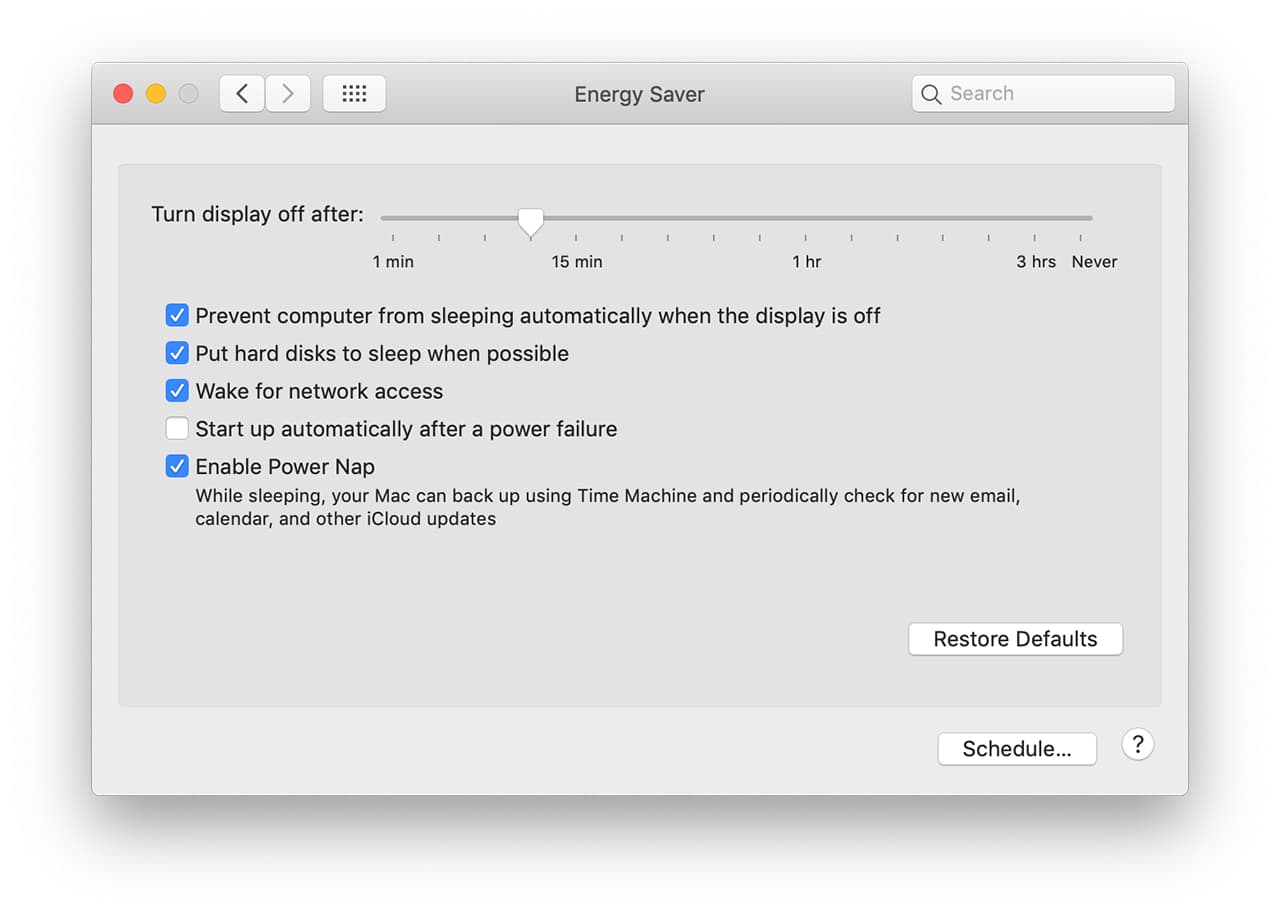 (Power Nap is enabled on the Energy Saver System Preference pane)