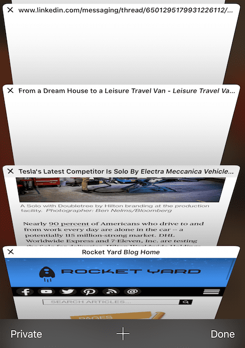 (A section of a long list of open Safari tabs on an iPhone)