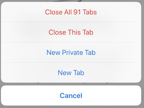 (The tabs pop-up menu, displayed after tapping and holding on the tabs button)