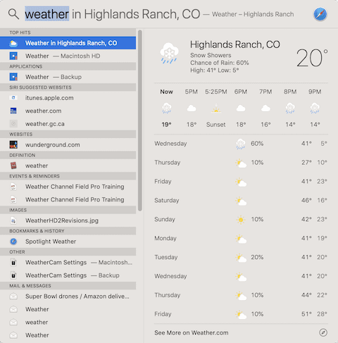 (A local weather forecast from Spotlight)