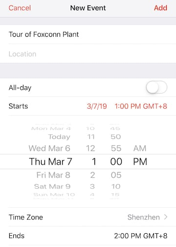 (Setting an event time zone in Calendar for iOS)