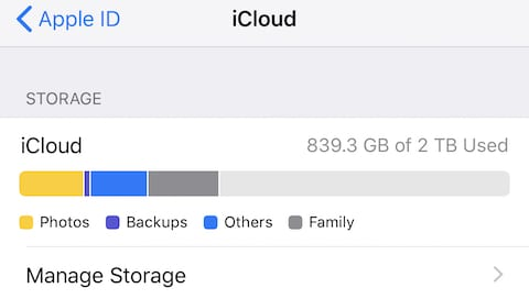 (The bar chart at the top of the iCloud settings page displays storage amount and usage)