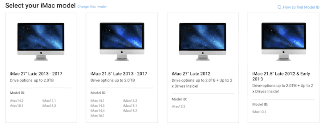 (Matching available OWC storage upgrades to the Model ID of various iMacs)