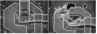 (Scanning Electron Micrograph showing before and after effects of electrostatic discharge. Image via ScanTech)