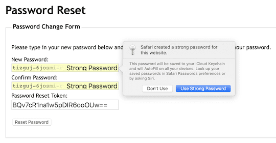 Safari creates a strong password that can be entered into the new password field and automatically saved in iCloud Keychain