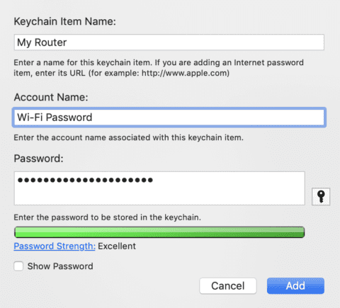 Adding a Wi-Fi password to the iCloud Keychain