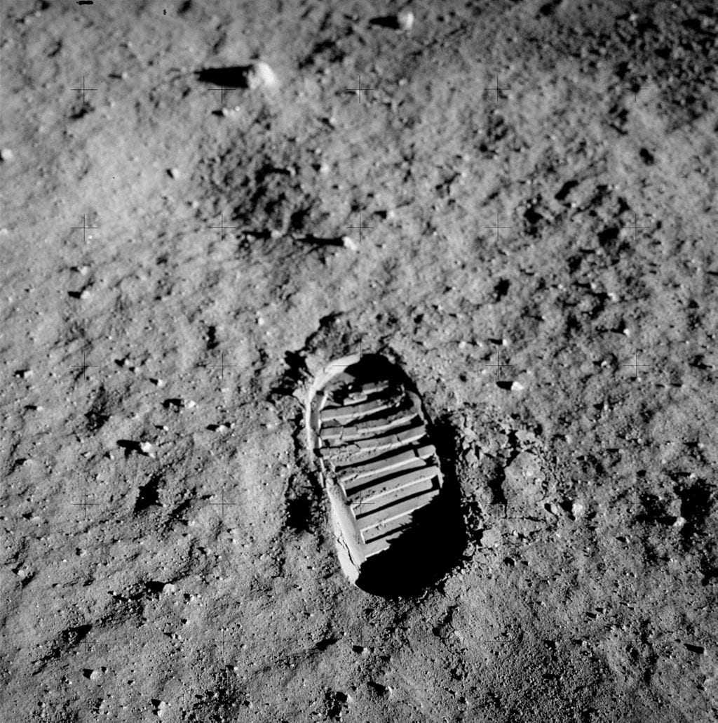 Buzz Aldrin's boot print on the lunar surface, July 20, 1969. Public domain image via NASA.