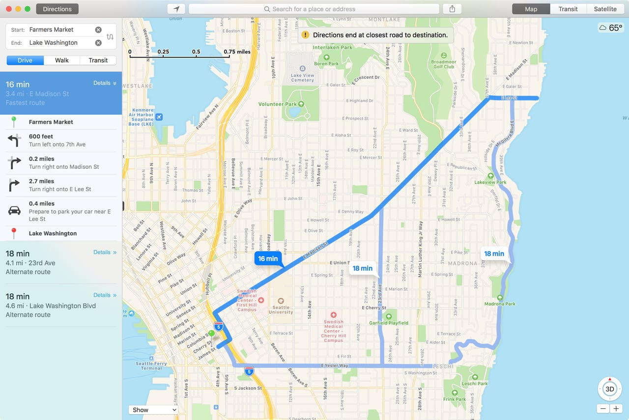Maps can generate walking, driving and public Maps supports turn-by-turn directions for driving, walking, and taking public transit. turn-by-turn directions.