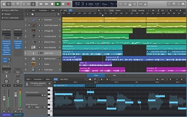 Screen shot of Apple Logic Pro X Mix Window