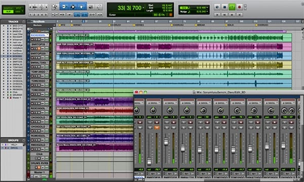 Screen shot of Avid Pro Tools Mic Window
