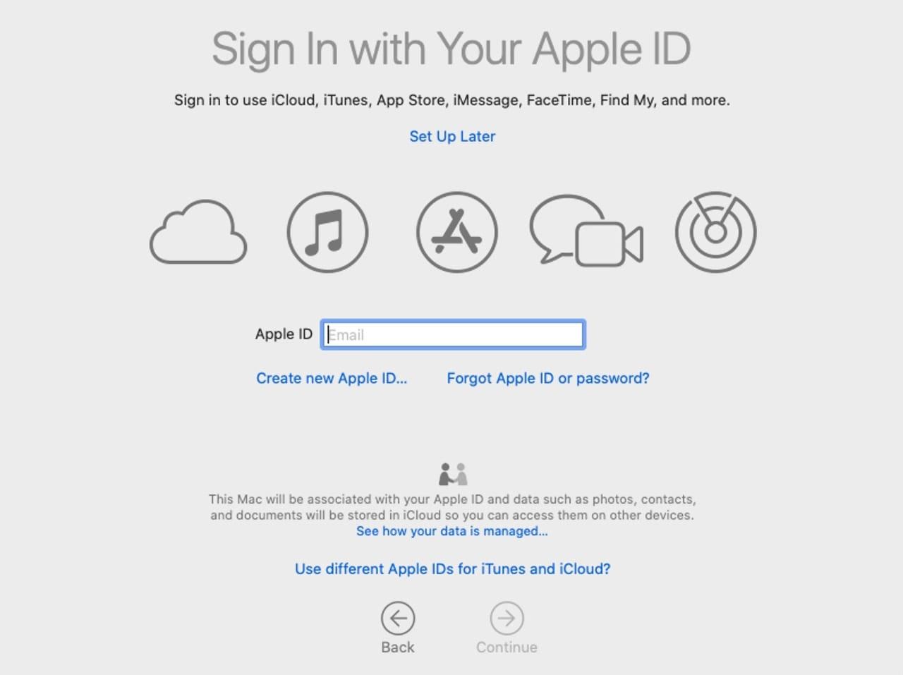 Enter your Apple ID to allow setup to configure multiple services for you.