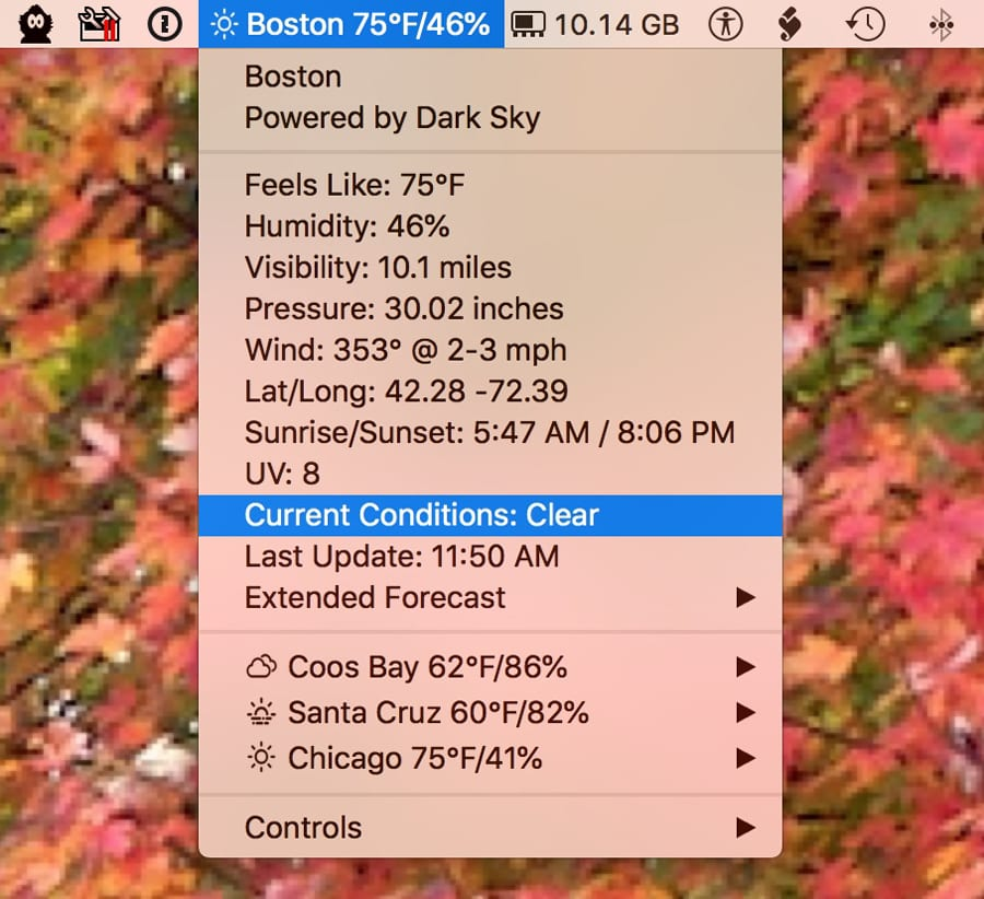 Meteorologist puts your local weather in the menu bar.