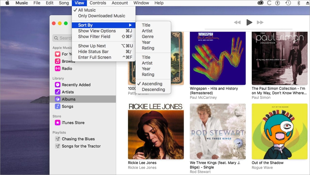 Use the sorting option to get a better view of your music library.