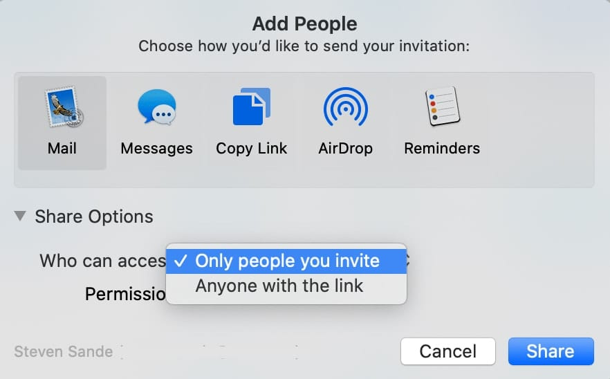 The Add People dialog can let you share access to the folder with people on an invitation list, or anyone you send the folder link to.