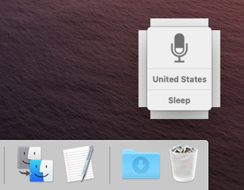 Voice Control icon can be used to enable and disable the service.