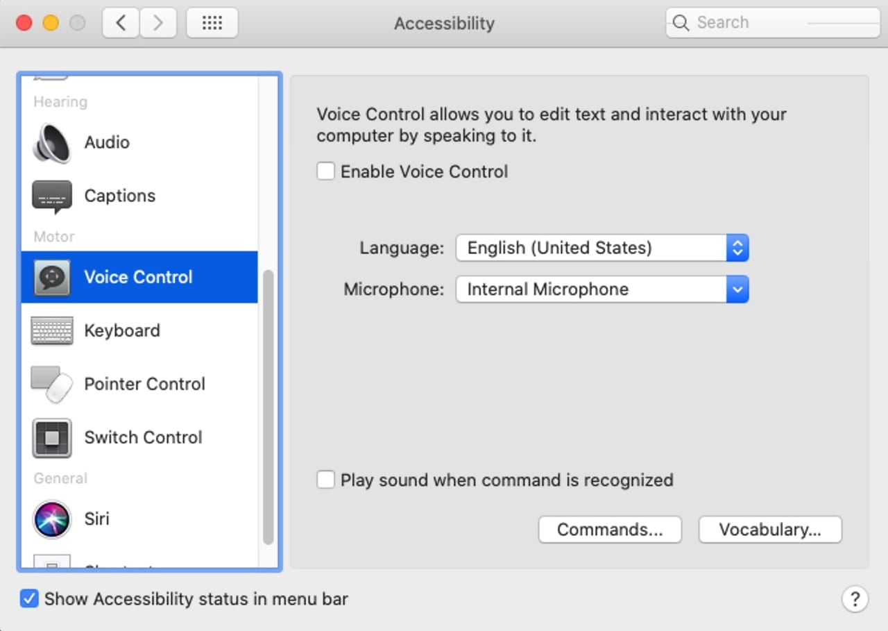 Accessibility preference pane displaying the Voice Control utility.