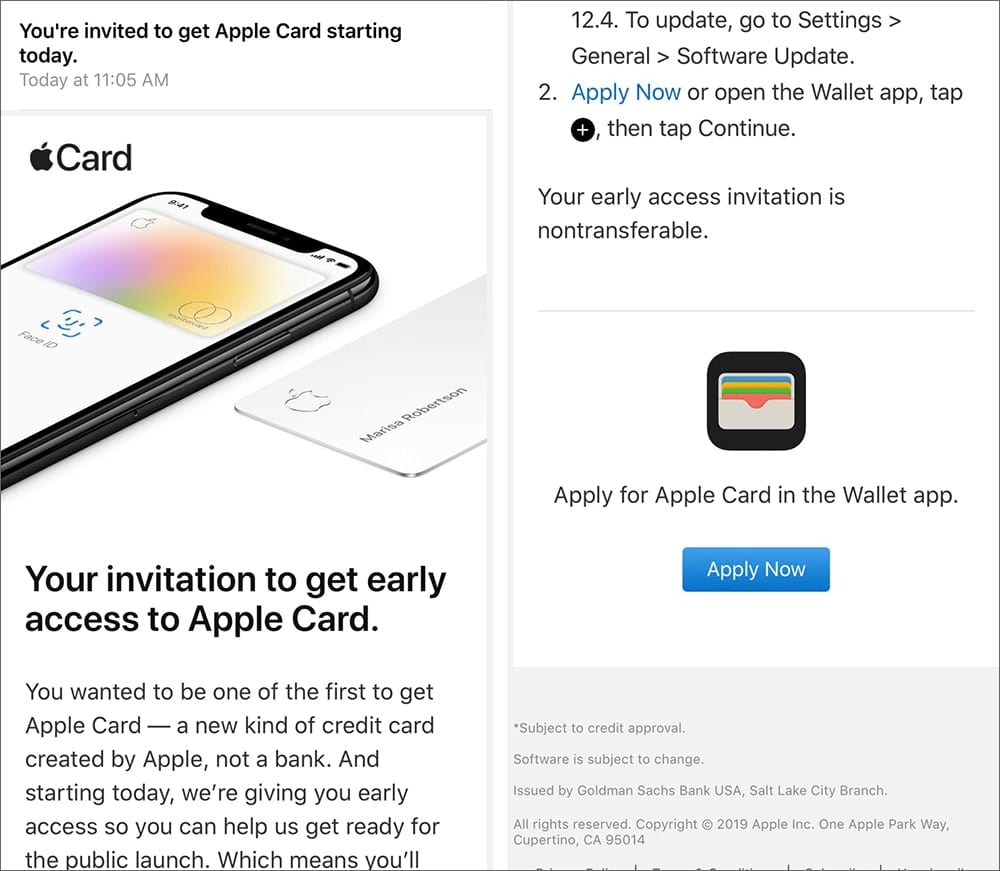 Screenshots showing parts of the email sent to those who requested early access to the Apple Card