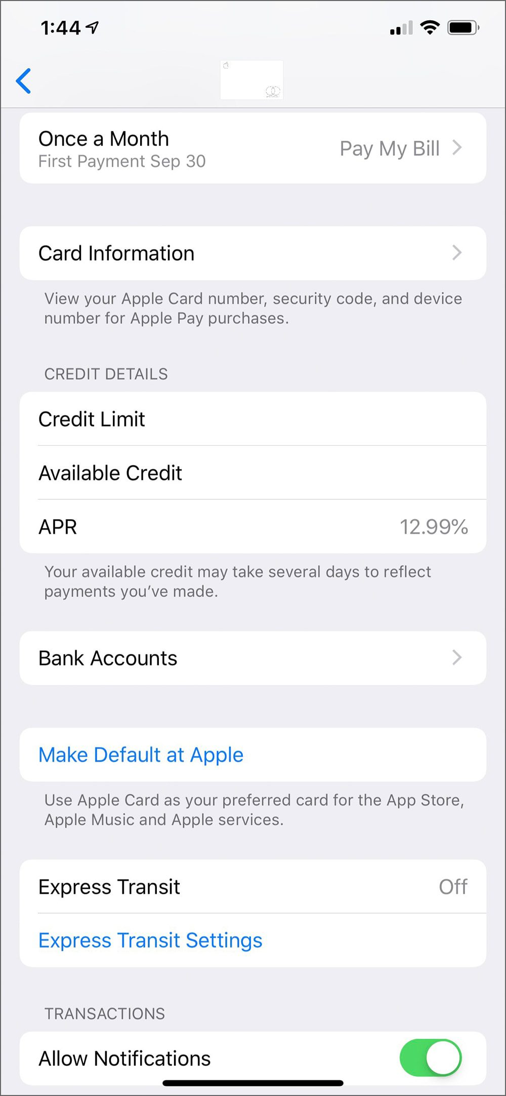 Apple Card setting screen in Wallet app