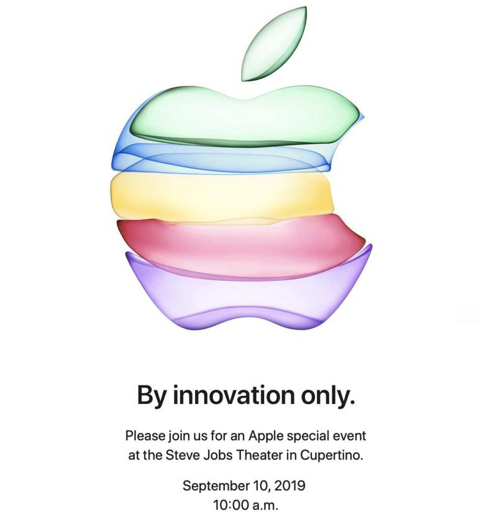 The flowing translucent Apple logo used on the press invitation for the September 10, 2019 event.
